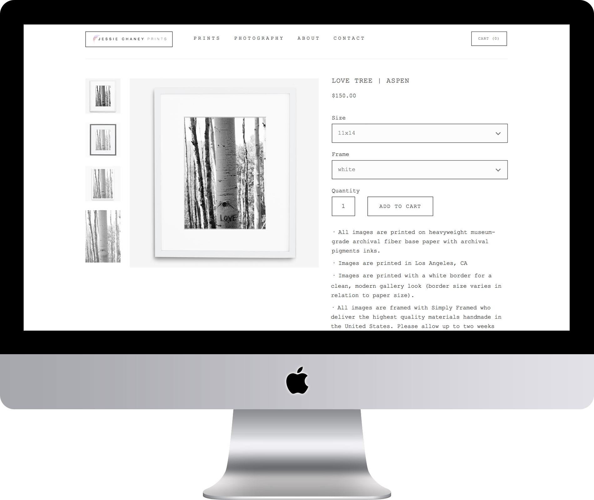 Jessie Chaney Prints Website by Maleka Designs