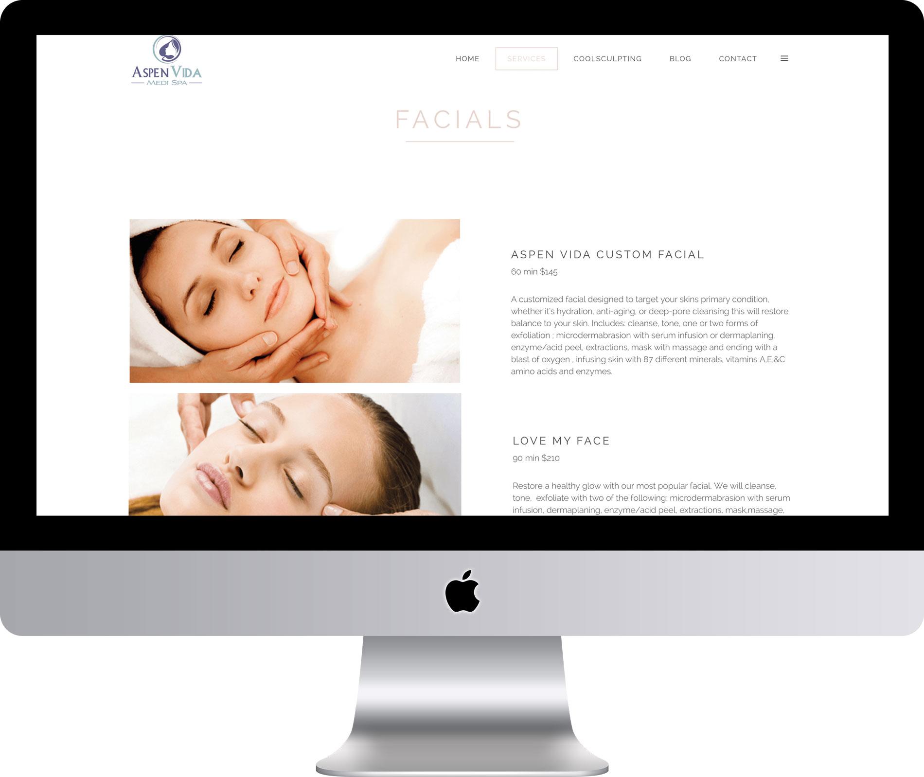 Maleka Designs Website for Aspen Vida Medi Spa