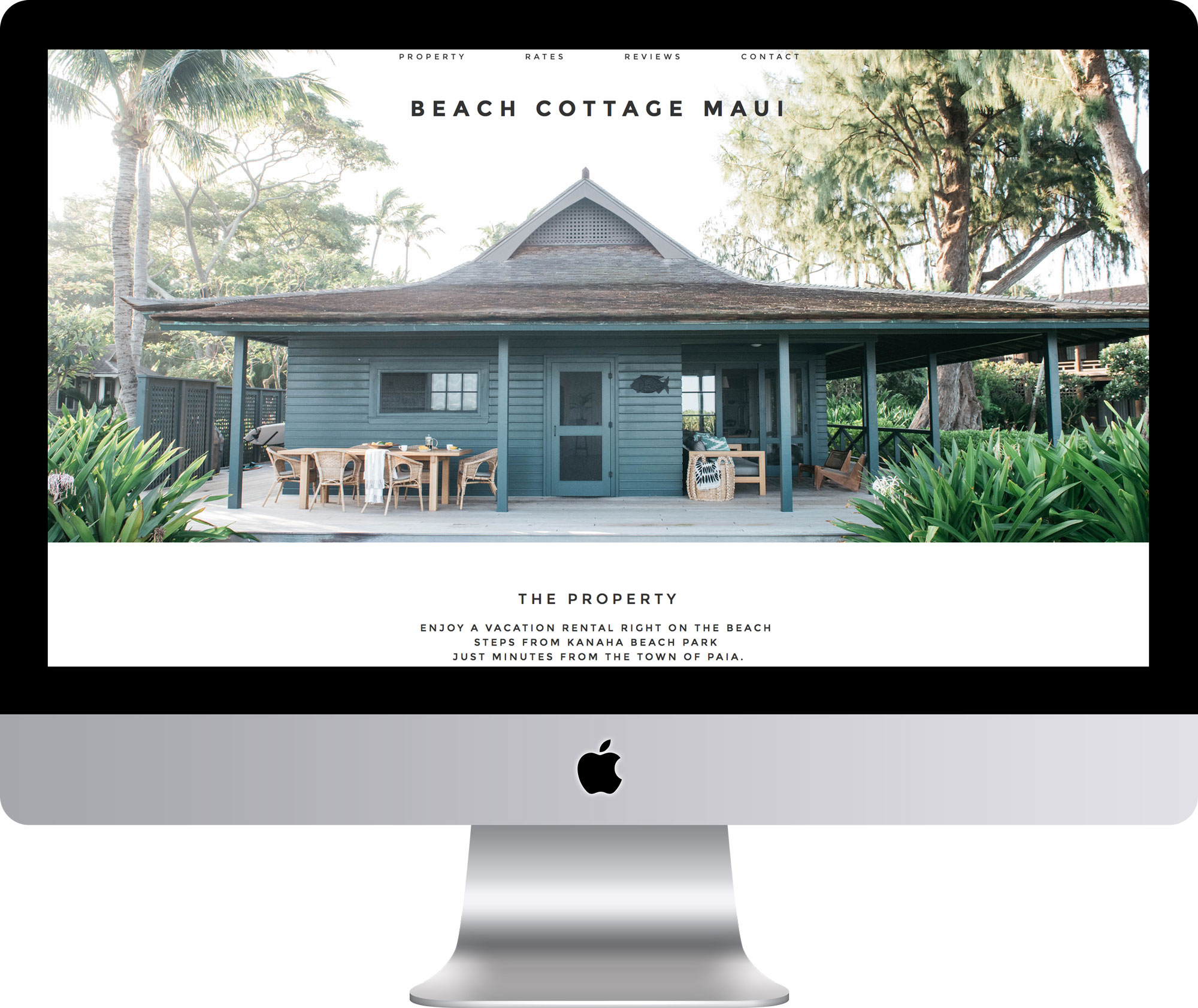 Maleka Designs Website for Beach Cottage Maui